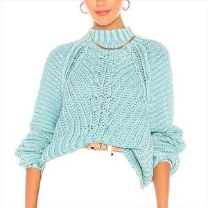 Free People Blue Ribbed Turtleneck Sweater